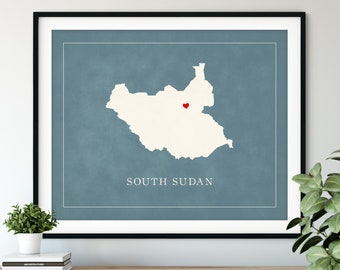 Custom South Sudan Map Art, Heart Over ANY City, Customized Country Map Silhouette, Personalized Gift, Hometown Love Print, Travel Map Decor