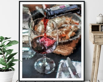"Red Wine Print - ""Vino"" - Oil Painting Poster, Kitchen Wall Art, Alcohol Wall Decor, Wet Bar Artwork, Game Room Art, Wine Bar, Abstract Art"
