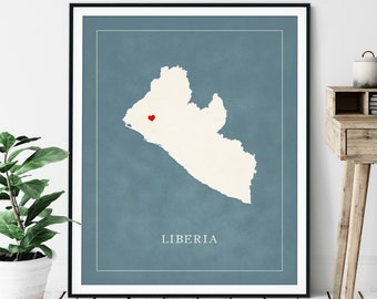 Custom Liberia Map Art - Heart Over ANY City - Customized Country Map Silhouette, Personalized Gift, Hometown Love Print, Travel Heart Map