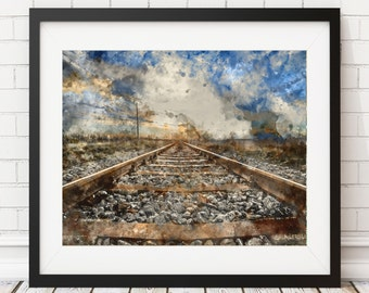 Railroad Tracks Print - Watercolor Print, Watercolor Art, Watercolor Painting, Train Tracks Print, Train Track Art, Rustic Wall Art, Office