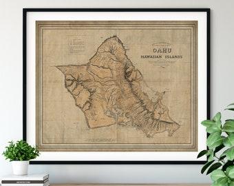 1881 Oahu Map Print, Vintage Map Art, Antique Map, Old Map, Oahu Map Art, Oahu Gift, Oahu Print, Oahu Art, Diamond Head, Kahana, Waialua