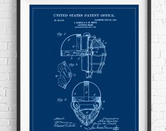 Catchers Mask Patent Print, Vintage Patent Art, Baseball Gifts, Baseball Decor, Baseball Art, Baseball Print, Patent Poster, Boys Room Art
