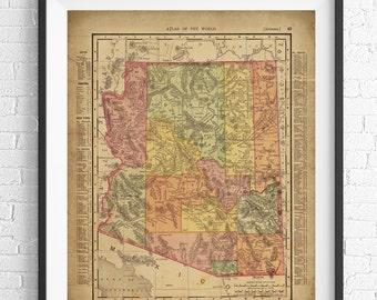 Arizona Map Print, Arizona Art, Vintage Map Art, Antique Map Wall Decor, Arizona Wall Art, Arizona Print, State Map, State Art, Map Poster