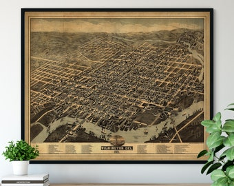 1874 Wilmington Delaware Birds Eye View Print - Vintage Map Art, Antique Street Map Print, Aerial View Poster, Historic Wilmington Art