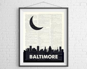 Baltimore Skyline Print, Baltimore Prints, Baltimore Skyline Wall Art, Dictionary Art Print, City Prints, Skyline Art, Baltimore Wall Art