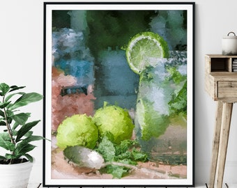 "Mojito Print - ""Twist of Lime"" - Cocktail Oil Painting Poster, Alcohol Wall Decor, Wet Bar Artwork, Game Room Art, Alcoholic Drinks, Gift"