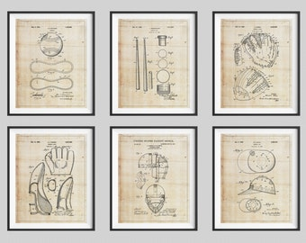 Baseball Patent Print Set, Panel Art, Vintage Patent Art, Baseball Gift, Baseball Decor, Baseball Art, Baseball Print, Poster, Boys Room Art