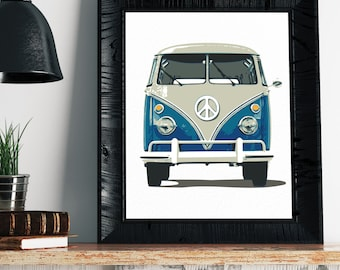 VW Bus Print - VW Bus Decor, Volkswagen Bus Art, Vintage Volkswagen Bus Print, Hippie Art, Hippie Decor, Boho Art, Hipster Art, VW Bus Art,