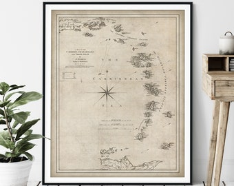 1779 Caribbean Islands Map Print - Vintage Lesser Antilles Map Art, Antique Map, Old Map Poster, Leeward Windward Jamaican Virgin Islands