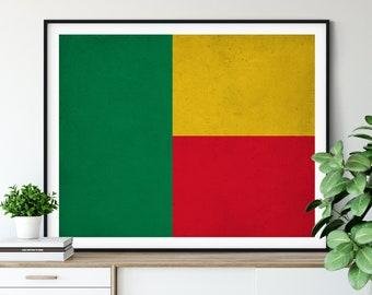 Benin Flag Art, Benin Flag Print, Flag Poster, Country Flags, Benin Poster, African Flag Art, Benin Pride, Housewarming Gifts, Flag Painting