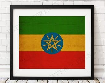 Ethiopia Flag Print, Ethiopia Flag Art, Ethiopian Flag, Ethiopian Gifts, Flag Poster, Moving Gift, Vintage Flag Wall Art, Ethiopian Art