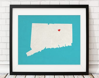 Custom Connecticut State Art, Customized State Map Art, Personalized, Connecticut Art, Heart Map, Connecticut Map, Love, Connecticut Print