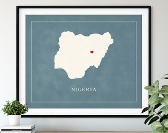 Custom Nigeria Map Art, Heart Over ANY City, Customized Country Map Silhouette, Personalized Gift Hometown Love Print Travel Heart Map Decor