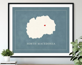 Custom North Macedonia Map Art - Heart Over ANY City - Customized Country Map Silhouette, Personalized Gift, Hometown Love Print, Travel Map