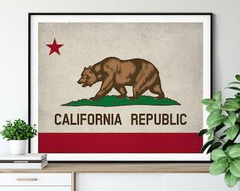 California Flag Art, California Flag Print, State Flag Poster, State Flags, Flag Painting, California Poster, Cali CA, California Gifts