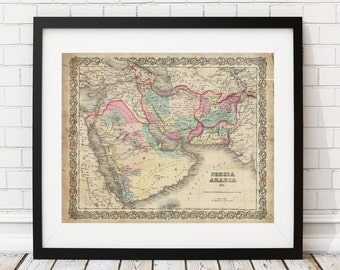 1855 Persia Map, Arabia Map, Vintage Map Art, Antique Map Print, Wall Art, Map of Persia, Old Map, Map Poster, Iran, Syria, Saudi Arabia