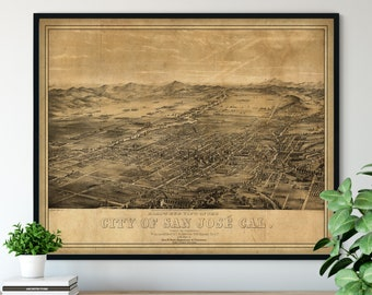 1879 San Jose California Birds Eye View Print - Vintage Map Art, Antique Street Map Print, Aerial View Poster, Historical Art, CA Wall Art