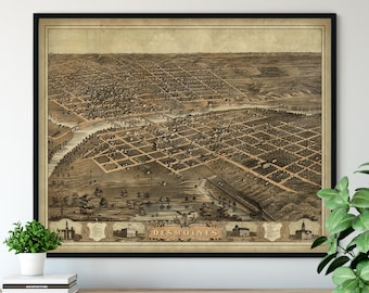 1868 Des Moines Iowa Birds Eye View Print - Vintage Map Art, Antique Street Map Print, Aerial View Poster, Historical Art, Iowa Wall Art