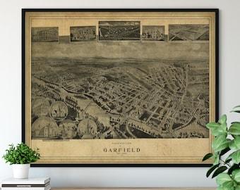 1909 Garfield New Jersey Birds Eye View Print - Vintage Map Art, Antique Map Print, Aerial View Poster, Historical Art, Wall Art, Street Map