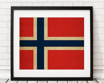 Norway Flag Art, Norway Flag Print, Norwegian Flag Poster, Country Flags, Norway Painting, Flag Painting, Wall Art, Norway Poster, Gifts