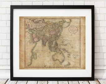 1806 Asia Map Print, Vintage Map Art, Antique Map, Wall Art, Old Maps, Map of Asia, Asian Map, China, India, Map Poster, Asian Gifts