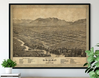 1877 Ogden City Utah Birds Eye View Print - Vintage Map Art, Antique Street Map Print, Aerial View Poster, Historical Art, UT Wall Art