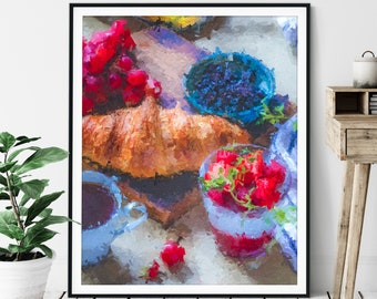 "Breakfast Print -""Rise & Shine"" - Oil Painting Poster, Kitchen Wall Art, Foodie Gift, Breakfast Nook Wall Decor, Food Artwork, Cafe Art"