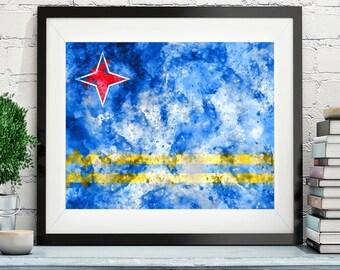 Aruba Flag Art, Aruba Flag Print, Flag Poster, Country Flags, Watercolor Painting, Watercolor Flag, Aruba Poster, Wall Decor, Wall Art, Gift