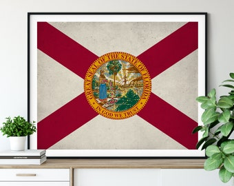 Florida Flag Art, Florida Flag Print, State Flag Poster, FL Flag Painting, Living Room Art, State Pride Gifts, Florida Wall Art, Hallway Art