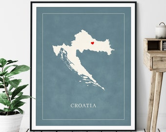 Custom Croatia Map Art - Heart Over ANY City - Customized Country Map Silhouette, Personalized Gift, Hometown Love Print Travel Heart Map
