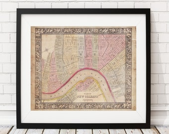 1864 New Orleans Map, Vintage Map Art, Antique Map Print, Map of New Orleans, Old Map, New Orleans Print, Louisiana Map, New Orleans Art