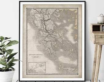 1836 Ancient Greece Map Print, Vintage Greek Map Art, Antique Map, Old Map, Greece Print, Greece Art, Macedonia, Arcadia, Crete, Athens