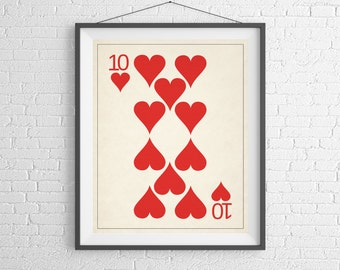 10 of Hearts Playing Card Art, Playing Cards Print, Game Room Decor, Game Room Art, Poker Gifts, Gambling Gift, Office Art, Man Cave Art