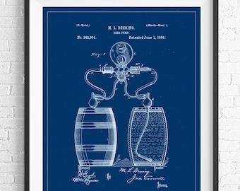 Beer Barrel Patent Print, Beer Keg Patent, Beer Gifts, Beer Pump Patent, Bar Decor, Bar Art, Beer Art, Beer Print, Vintage Patent Poster