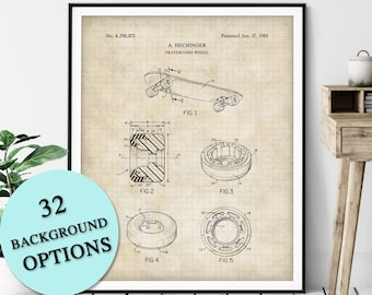 Skateboard Wheel Print - Customizable Skateboard Blueprint, Skateboard Art Poster, Skateboarder Gift, Skateboarding Wall Decor, Skater Gift