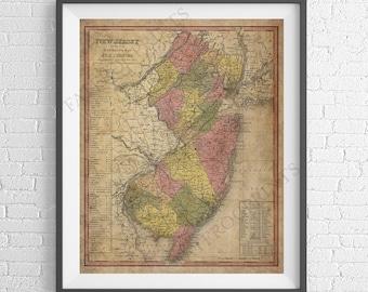 1846 New Jersey Map Print, New Jersey Wall Art, NJ Map, Vintage Map Art, Antique Map Poster, Old Maps, Housewarming Gift, New Jersey Art