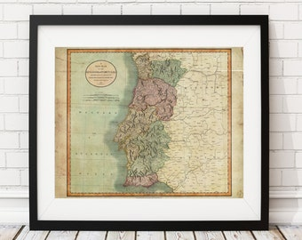1801 Portugal Map Print, Vintage Map Art, Antique Map, Wall Art, Portugal Print, Old Maps, Portugal Art, Map of Portugal, Portuguese Gifts