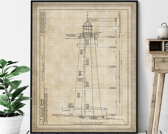 Sandy Hook Lighthouse Elevation Print - Lighthouse Art, Architectural Drawing, Nautical Wall Decor, Coastal Print, Jersey Shore Print, Gift