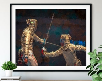 "Fencing Print - ""En Garde"" - Fencer Gift, Oil Painting Poster,  Fencing Wall Decor, Fencing Artwork, Game Room Wall Art, Home Office Art"