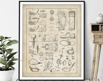 Golf Collage Print - Customizable Golf Club Blueprint, Golfer Gift, Golf Patent Poster, Golf Equipment Chart, Office Wall Decor, Golf Ball
