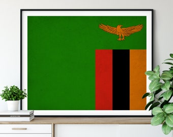 Zambia Flag Art, Zambia Flag Print, Vintage Flag Poster, Country Flags, Flag Painting, Wall Decor, African Flags, Living Room Wall Art, Gift