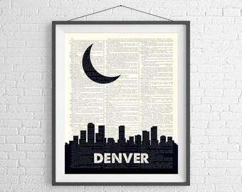 Denver Skyline Print, Denver CO Prints, Denver Skyline Wall Art, Dictionary Art Print, City Prints, City Skyline Art, Denver Art Gifts
