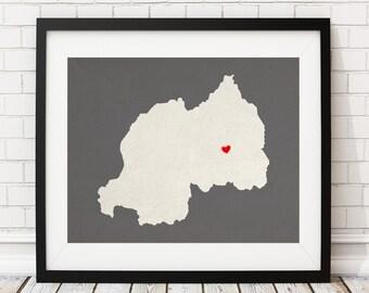 Custom Rwanda Silhouette Print, Customized Country Map Art, Personalized Gift, Rwanda Art, Rwanda Print, Heart Map, Rwanda Map, Home Country
