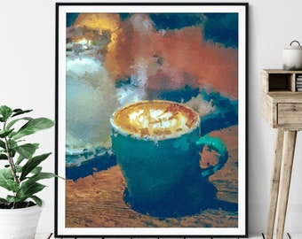 Cappuccino Print - Coffee Gifts, Cafe Art, Coffee Bar Decor, Oil Painting Poster, Kitchen Wall Art, Foodie Gift, Breakfast Nook Wall Decor