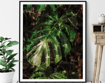 Palm Leaf Print - Tropical Leaves Oil Painting Poster, Palm Tree Wall Decor, Botanical Wall Art, Living Room Artwork, Green Plants, Gift