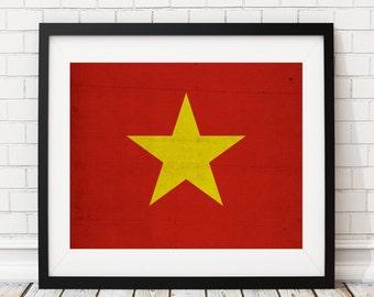 Vietnam Flag Art, Vietnam  Flag Print, Flag Poster, Country Flags, Flag Painting, Vietnamese Flag, Vietnam Poster, Vietnamese Gifts