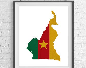 Cameroon Flag Map Print, Cameroon Map, Cameroon Silhouette, Moving Gift, Housewarming Gift, Vintage Flag Poster, African Wall Art, Flag Art