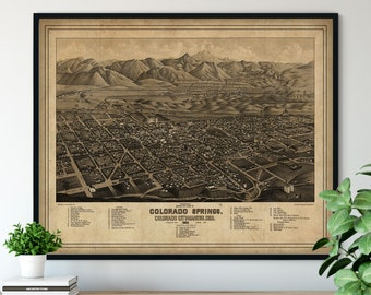 1882 Colorado Springs Birds Eye View Print - Manitou Wall Art, Vintage Map Art, Antique Street Map Print, Aerial View Poster, Historical Art