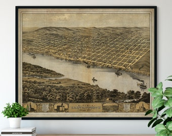1869 Leavenworth Kansas Birds Eye View Print - Vintage Map Art, Antique Street Map Print, Aerial View Poster, Historical Art, KS Wall Art