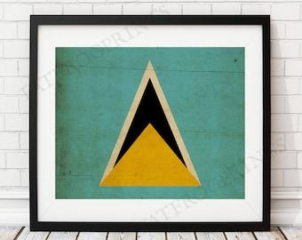 Saint Lucia Flag Print, St Lucia Flag Art, Flag Poster, Flag Wall Art, Caribbean Art, St Lucia Flag, Saint Lucia Art, Caribbean Gifts